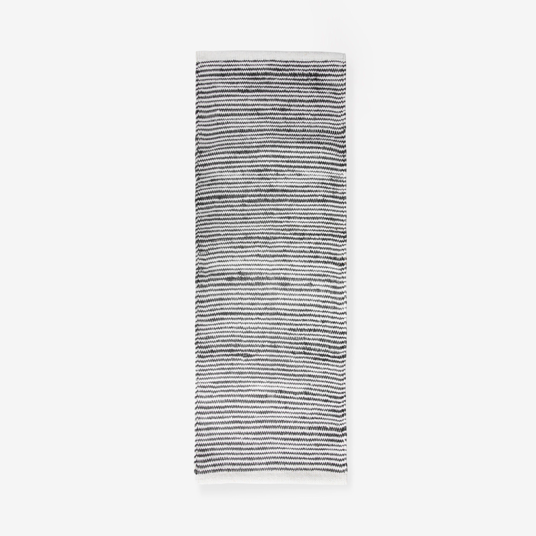 Matta Ull/Jute Rand Sv/Vit 70x200cm