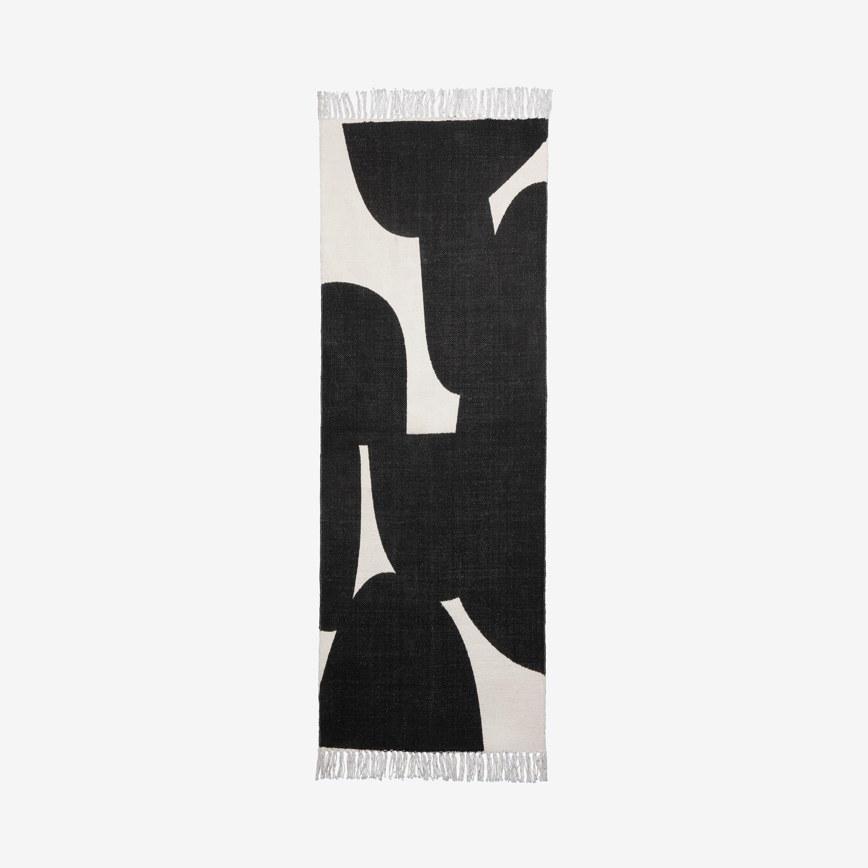 Matta Bomull Print Svart 70x200cm