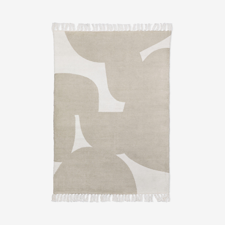 Matta Bomull Print Beige 140x200cm