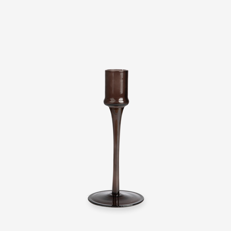 Ljusstake Glas 19cm brun