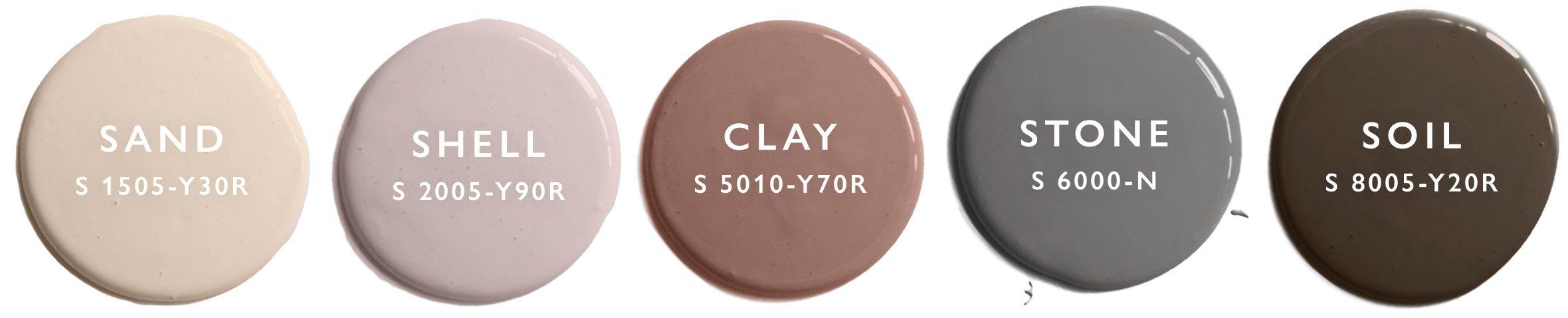 Auro-färger från Byggfabriken i Samarbete med Granit. NCS:er: Shell - NCS S 2005-Y90R   Sand - NCS S 1505-Y30R   Stone - NCS S 6000-N   Soil - NCS S 8005-Y20R   Clay- NCS S 5010-Y70R