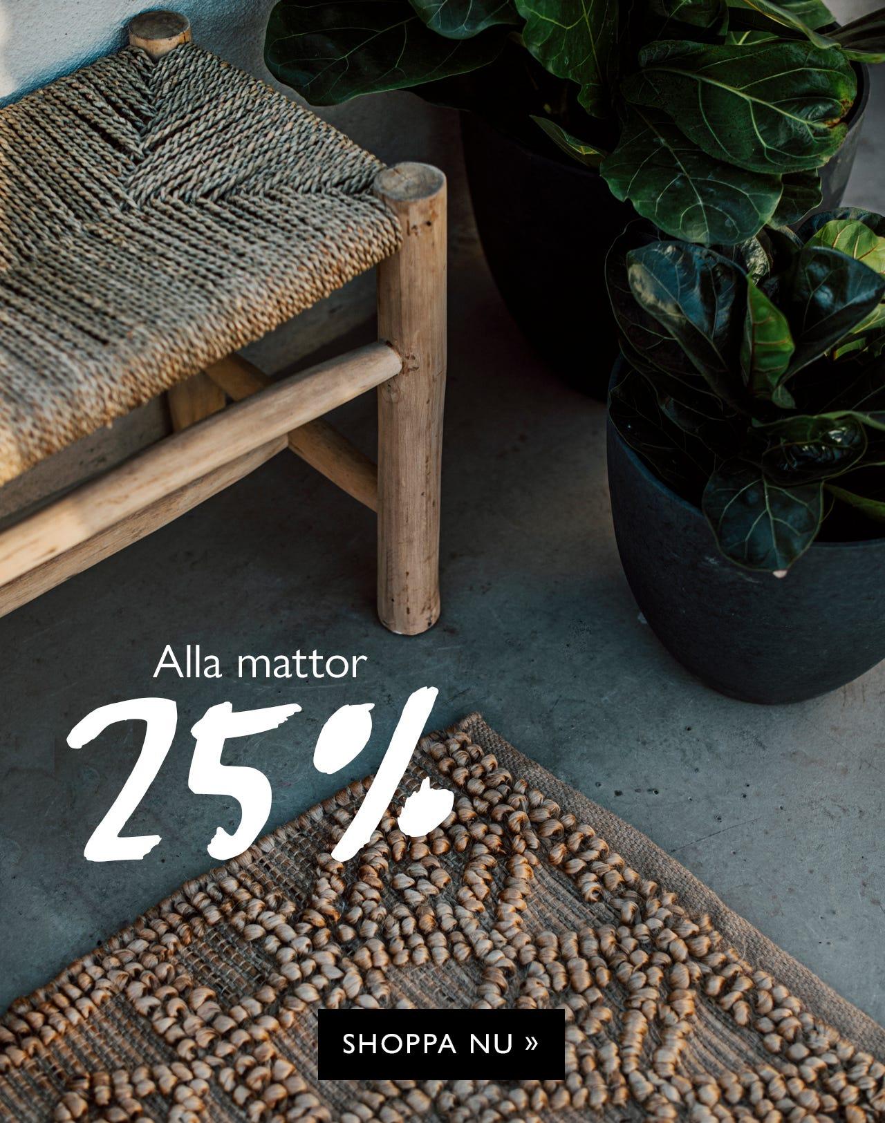 25 % rabatt på alla mattor