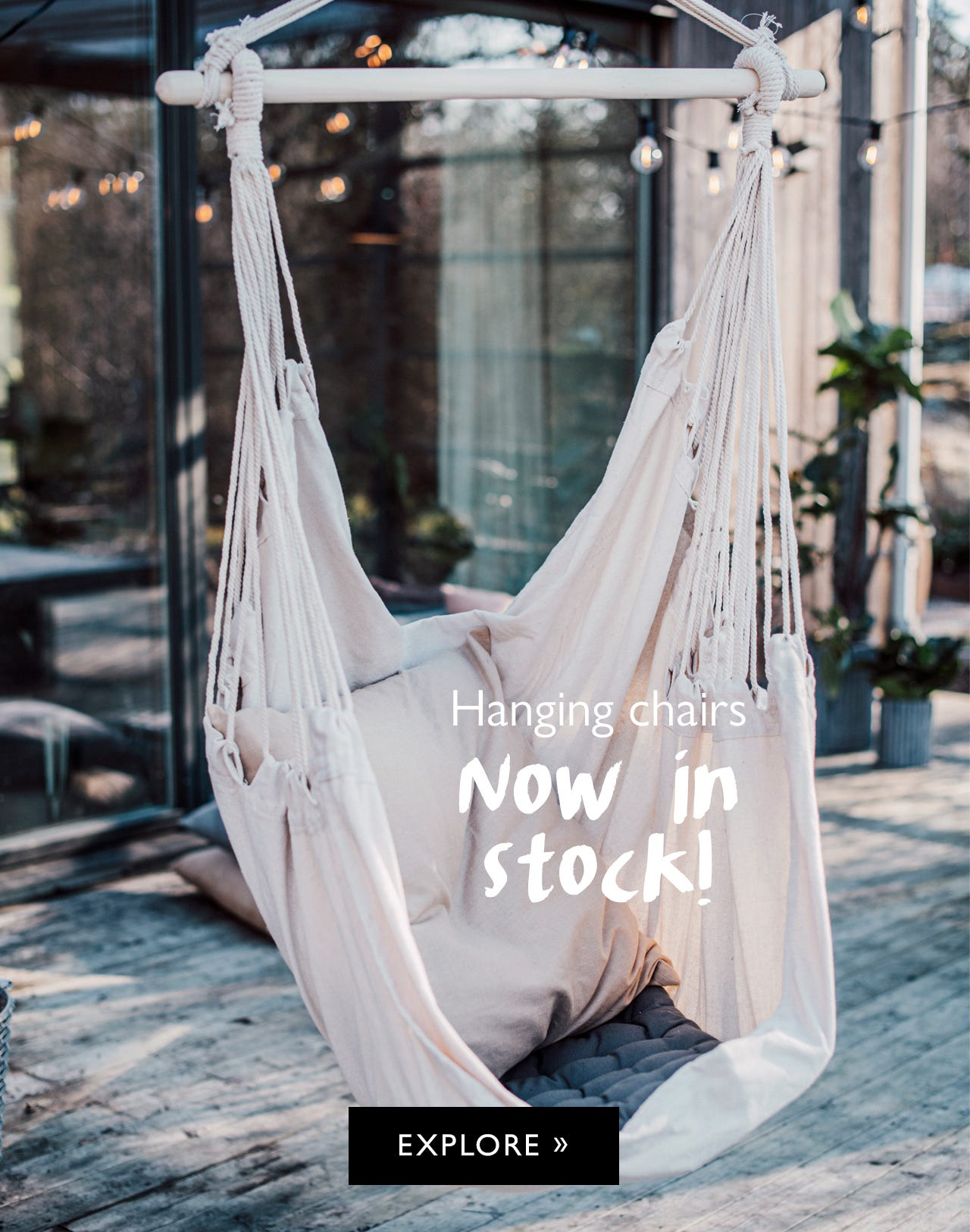 New hanging chairs, now in stock!