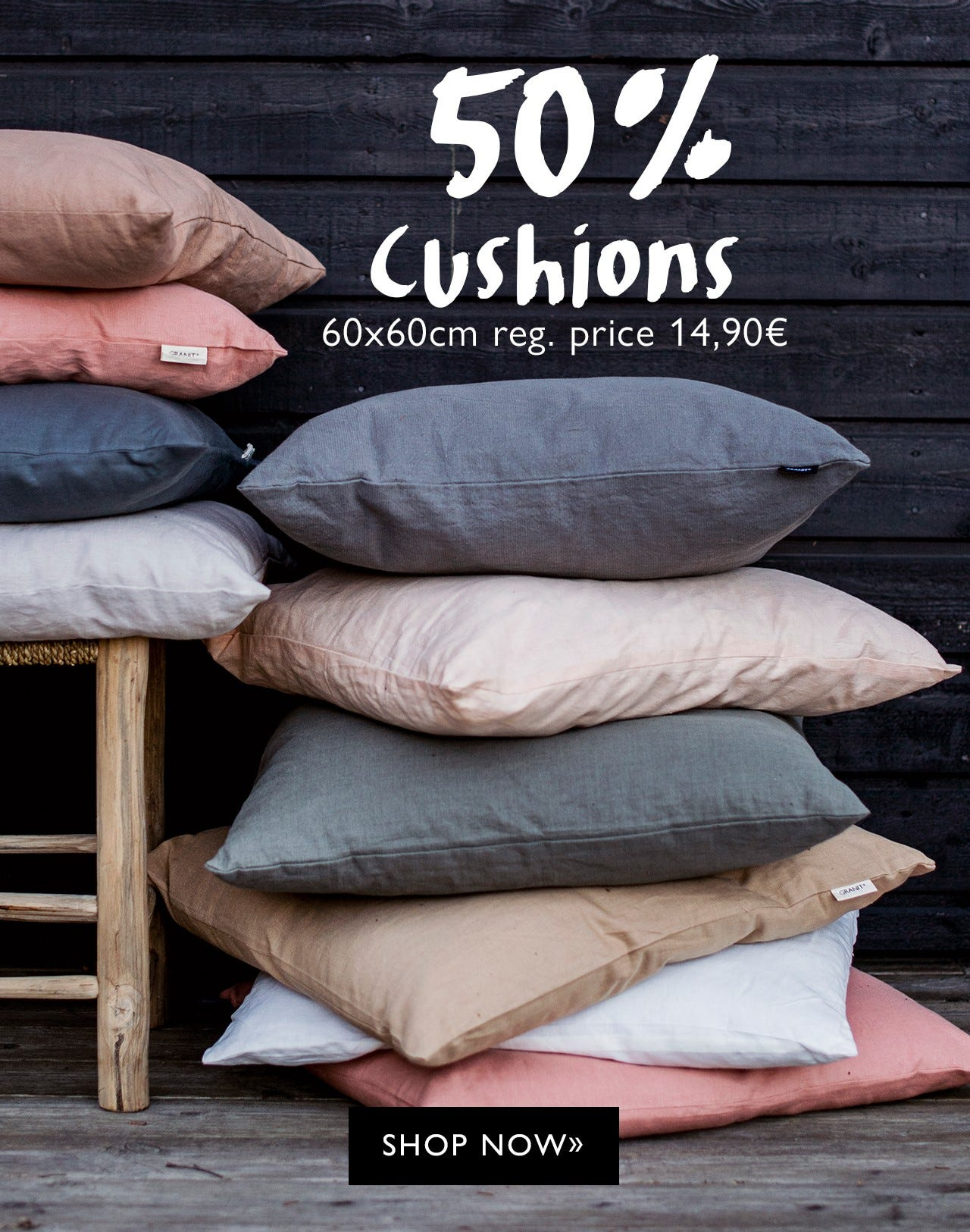 50% off on large cushions 60 x 60 cm