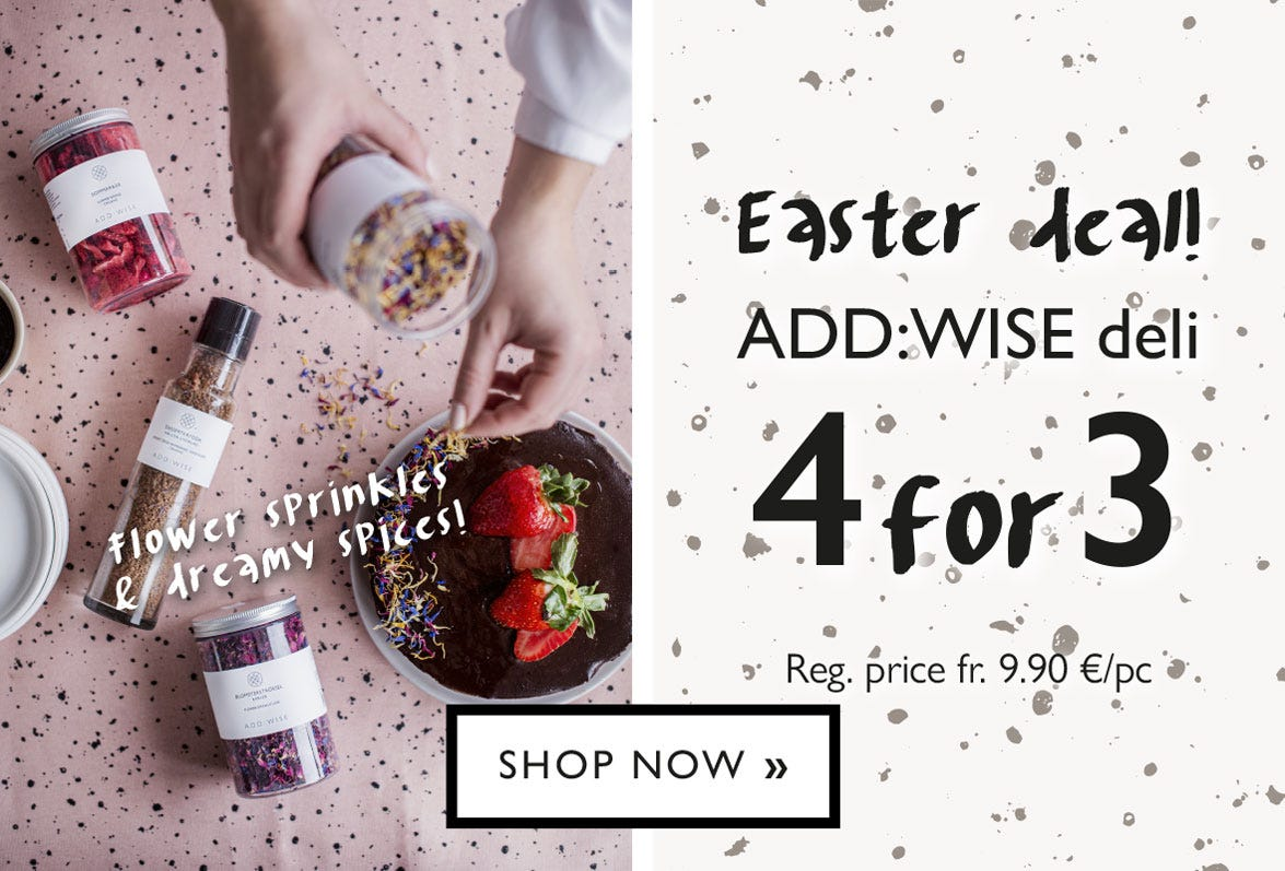 Easter deal! Mixa and match spices from ADD:WISE - Buy 4 pay for 3